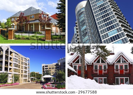 Collage of different types of real estate