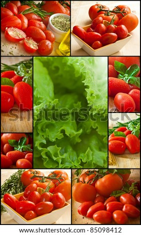 collage of differents types of tomato and lettuce