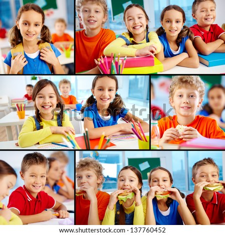 Collage of diligent schoolchildren in school