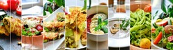 Collage of diverse food. Various tasty and healthy food. Vegetarian menu.