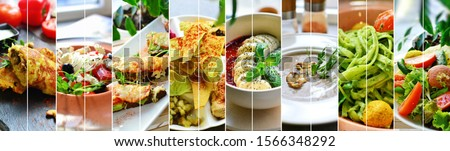 Collage of diverse food. Various tasty and healthy food. Vegetarian menu. ストックフォト ©