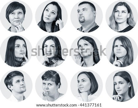 Collage of diverse thoughtful people #441377161