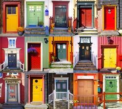 Collage of doors in Roros. Norway