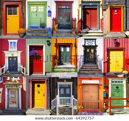 Collage of doors in Roros. Norway