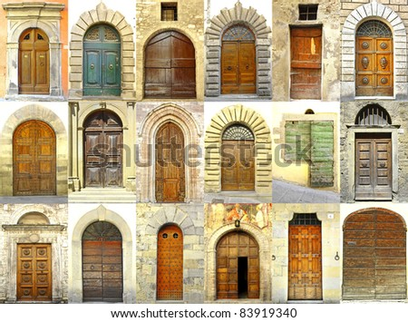 Collage of doors, Italy