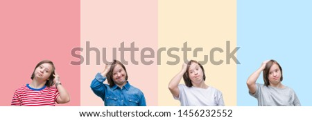 Collage of down syndrome woman over colorful stripes isolated background confuse and wonder about question. Uncertain with doubt, thinking with hand on head. Pensive concept.
