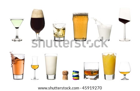 Collage of drinks isolated on white background
