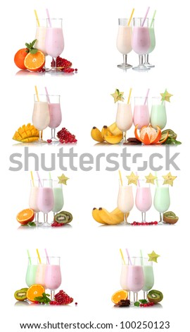 collage of eight compositions milkshakes with fruits isolated on white
