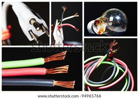 Collage of electrical instruments tools. Electricity and lighting background.