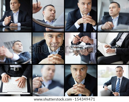 Collage of elegant businessman in office