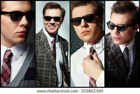 Collage of elegant man in smart clothes - stock photo