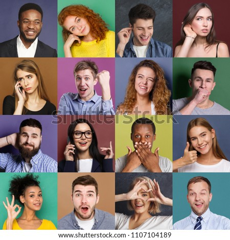 Collage of emotional diverse multiethnic people. Set of male and female positive and negative portraits on colorful studio backgrounds #1107104189
