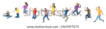 Collage of emotional people jumping on white background. Banner design  #1464497075