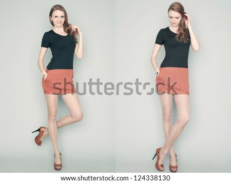 Collage of emotional portraits of a gorgeous red-haired fashion model posing in a stylish dress over gray background. studio shot - stock photo