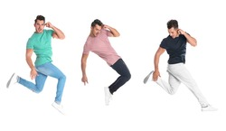Collage of emotional young man wearing fashion clothes jumping on white background