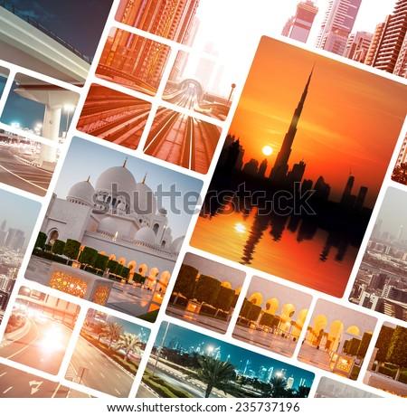 Collage of evening photo from  Dubai and Abu Dhabi. UAE