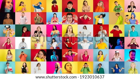 Collage of faces of 40 emotional people on multicolored backgrounds. Expressive male and female models, multiethnic group. Human emotions, facial expression concept. Music, videogames, online.