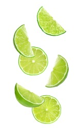 Collage of falling limes on white background