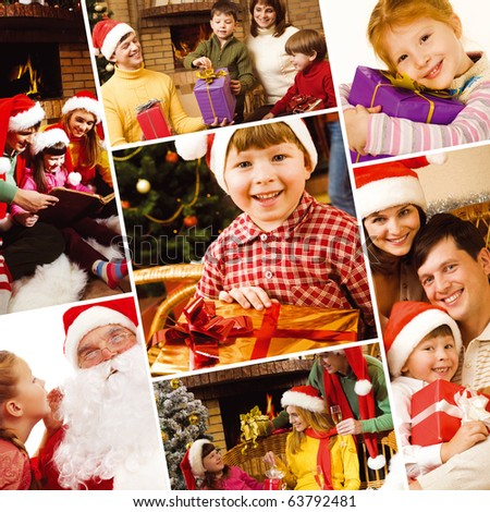 Collage of family, children and Santa symbolizing Christmas celebration