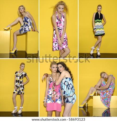 Collage of fashion model on orange background posing - stock photo
