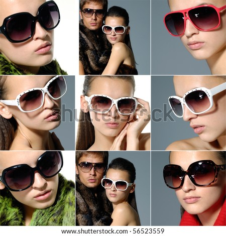 Collage of fashion model wearing modern sunglasses