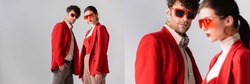 collage of fashionable couple in red blazers and sunglasses posing isolated on grey, horizontal image