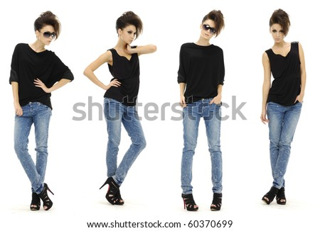 collage of fashionable young woman girl in sunglasses wearing jeans posing