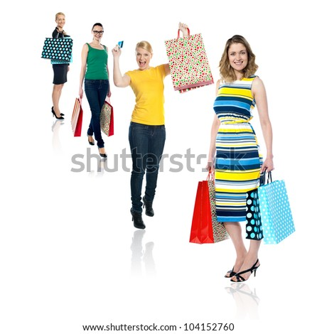 Collage of fashionable young women shopping. Carrying bags and credit card - stock photo
