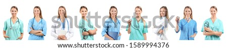 Collage of female doctor with stethoscope on white background