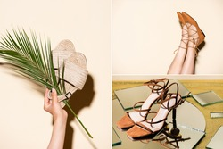 collage of female legs in brown shoes and sandals on beige background
