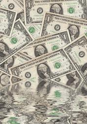 Collage of flooded Dollar Bills