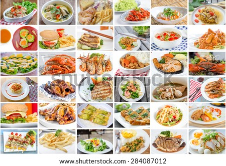 Collage of food menu asian american and chinese imagen de for Asian american cuisine