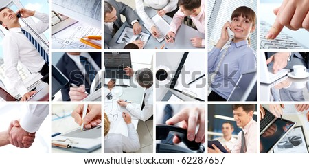 Collage of Four businesswomen sitting at table examining some documents