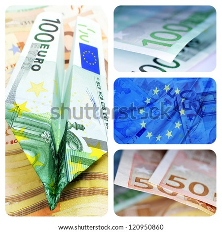 collage of four pictures of euro bills and european union flag