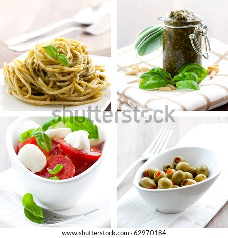collage of four pictures of italien food