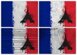 Collage of French flag with different texture backgrounds