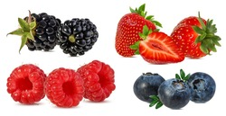 Collage of fresh berries isolated on white background with clipping path