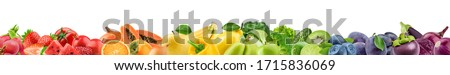 Collage of fresh color fruits, healthy food concept stock photo