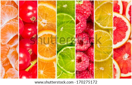Collage of fresh summer fruit in the form of vertical stripes #170275172