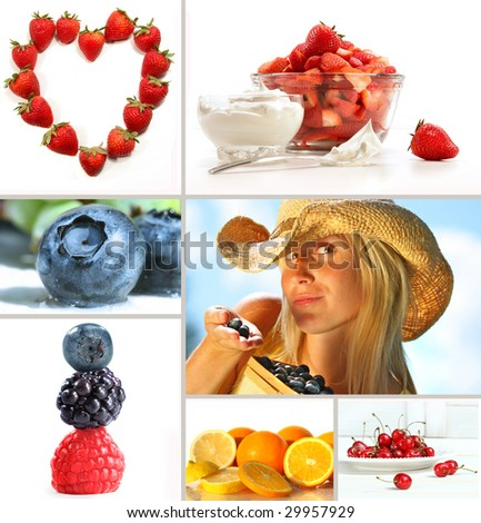 Collage of fresh summer fruits on white background