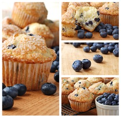 Collage of freshly baked blueberry muffins topped with sugar sprinkles