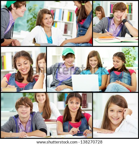 Collage of friendly teens in casual clothes studying in college