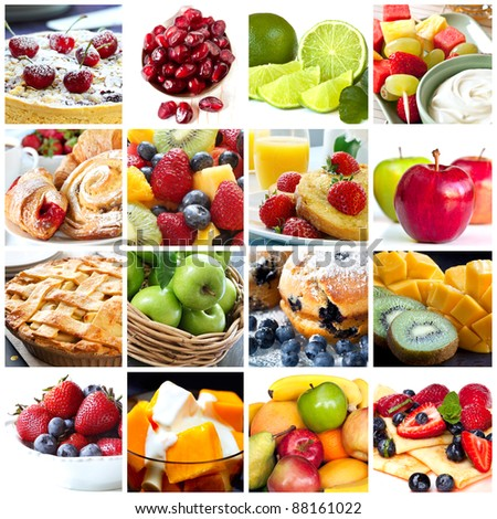 Collage of fruits and fruit desserts.  Delicious healthy eating.
