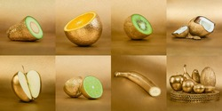 Collage of fruits with golden peel on gold background
