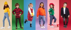 Collage of full body positive multiracial kids in stylish modern clothes looking at camera against colorful backgrounds