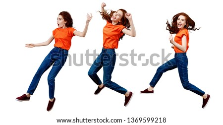 Collage of full length happy ginger woman in shirt and jeans jumping. Over white background #1369599218
