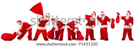 Collage of Funny Santos Clause with red sack in several different poses. Isolated on white.