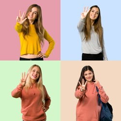 Collage of girls happy and counting three with fingers