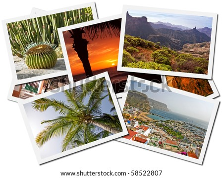 Collage of Gran Canaria, Canary Islands postcards isolated on white background
