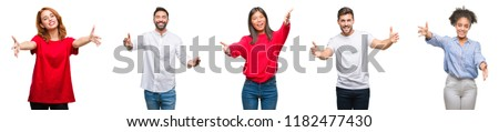 Collage of group chinese, indian, hispanic people over isolated background looking at the camera smiling with open arms for hug. Cheerful expression embracing happiness. #1182477430